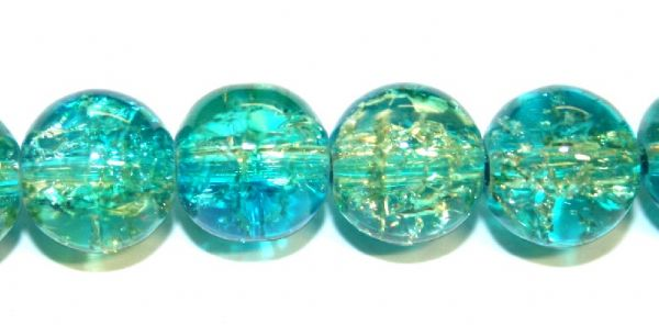 85pcs x 10mm Teal / green glass crackled beads -- 3005098